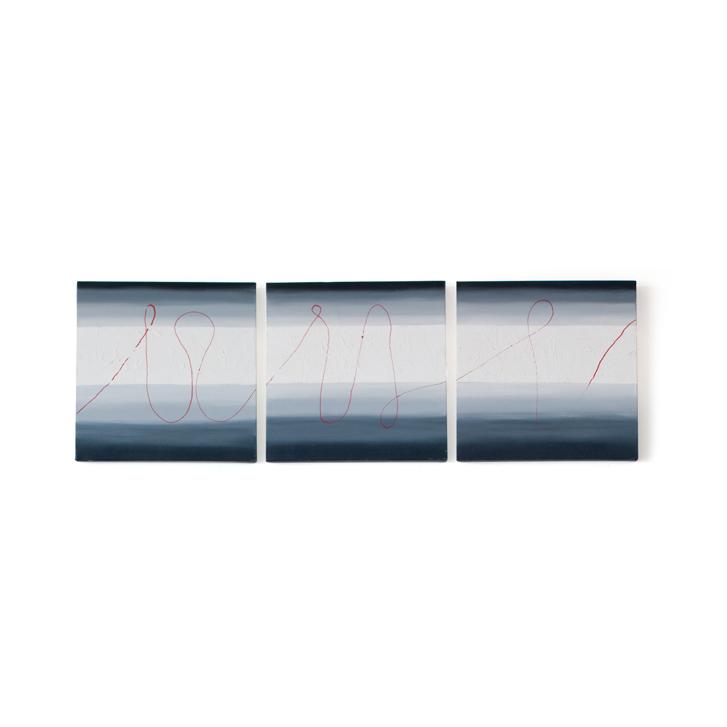 """Schilderij """"Rode draad"""" door Veronique Jansseune"""