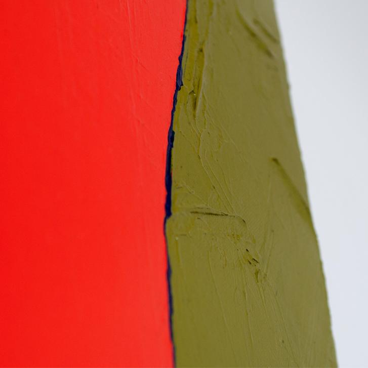 """Detailfoto van schilderij """"Rood Oranje Olijf"""" door Veronique Jansseune"""